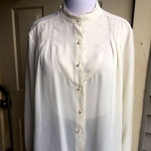GIVENCHY  POLYESTER IVORY LONG SLEEVE BLOUSE L/XL